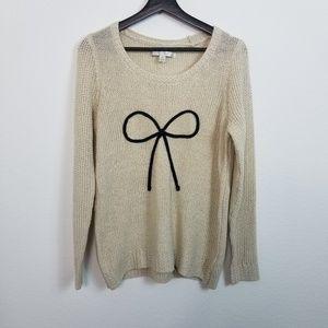 Lauren Conrad Metallic Knit Bow Sweater Gold Black